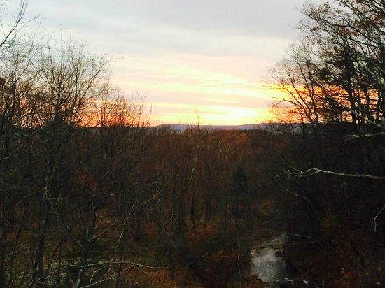 Skytop Lodge: sunset from levitt falls bridge trailhead