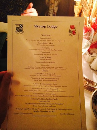 Dinner Menu Lobster Bisque Night Before Picture Of Skytop Lodge Tripadvisor