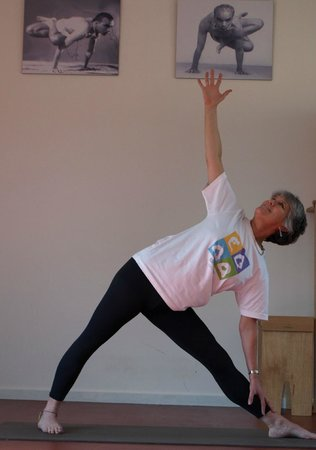 Griffins Hill Yoga Retreat : Weekly yoga session Valerie in Triangle pose