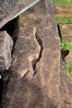 Gunung Padang Megalithic Site: Stone with Ancient Blade Carving