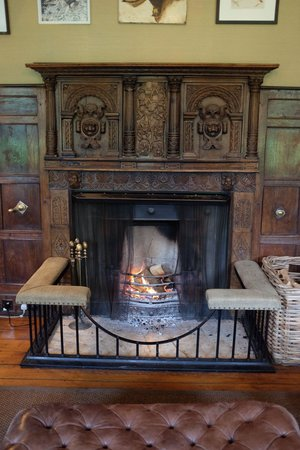 Babington House: Library fireplace