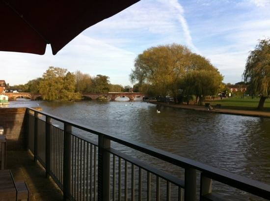 The Royal Shakespeare Theatre : view from RSC terrace. Coffee, cakes and what a wonderful view