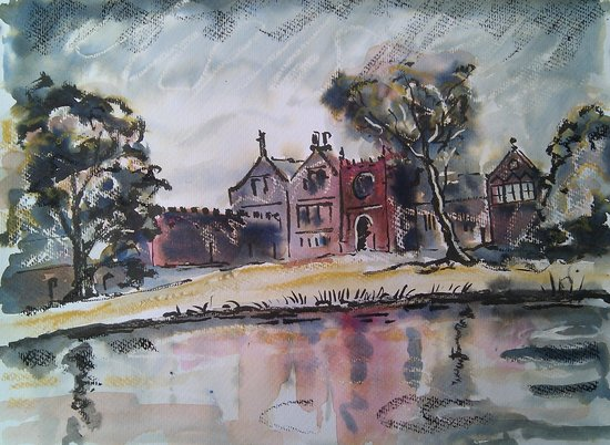 Painting of East Riddlesden Hall seen across the pond.