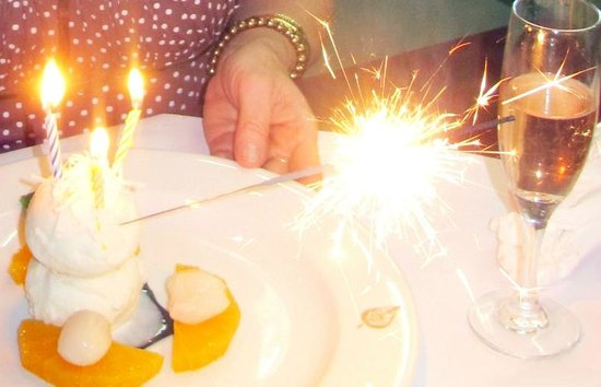Thai Pothong: Complimentary birthday ice cream and sparkler
