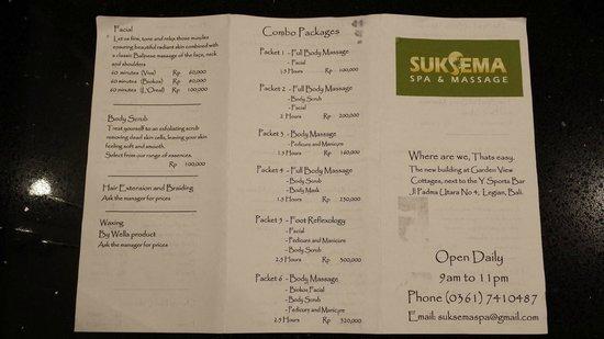 SukSema Spa & Massage: Spa flyer 1