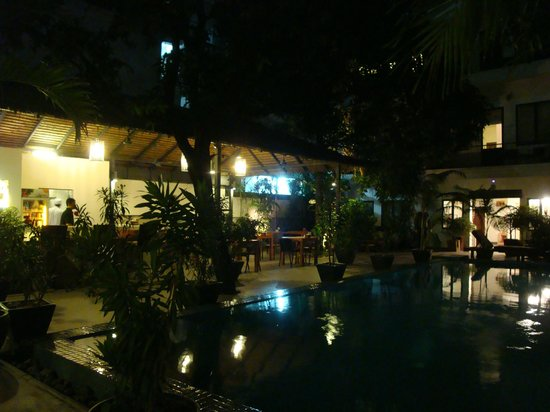 the 252 : Garden & pool at night
