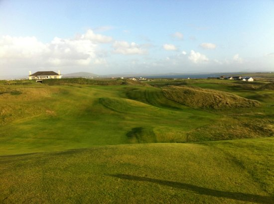Carne Golf Links: The 18th Fairway after a good drive