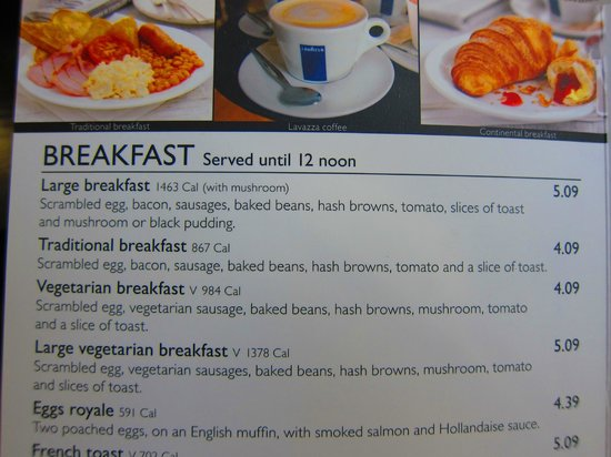 The Ivory Peg: Breakfast menu