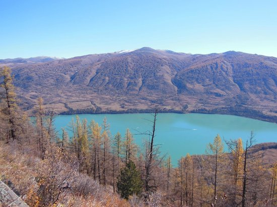 Xinjiang County, China: irregular shaped lake