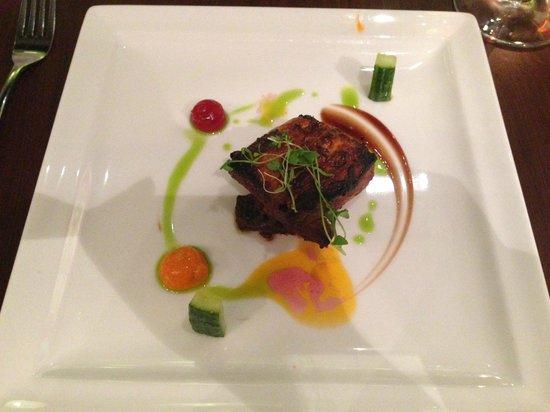 Ananda Restaurant: Free-range smoked Barbary duck breast, pickled cucumber, orange & plum jelly