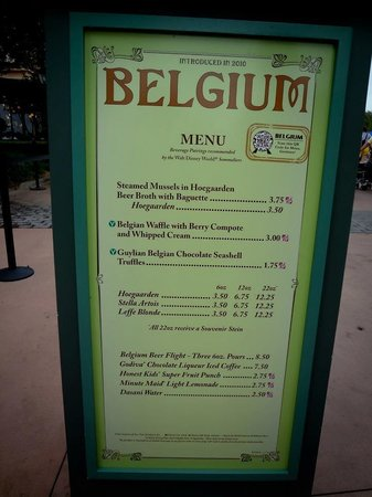 Epcot: Menu da parte da Bélgica