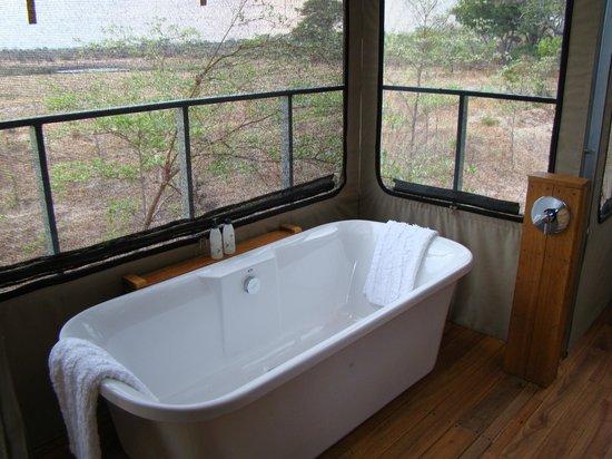 Elephant's Eye, Hwange: Bad mit Aussicht auf das Wasserloch