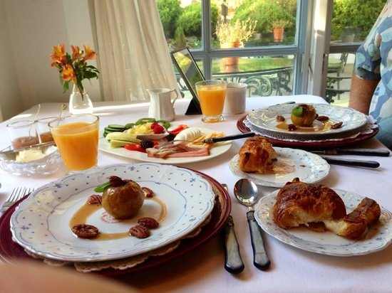 Chateau du Sureau: One of the wonderful breakfasts at the Chateau