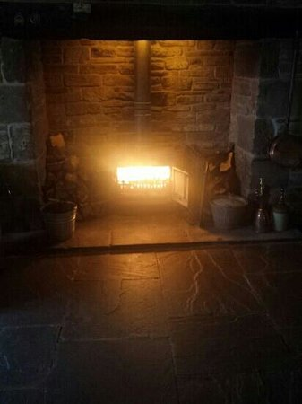 The Fox & Goose Inn: the open fire is lit every winters day