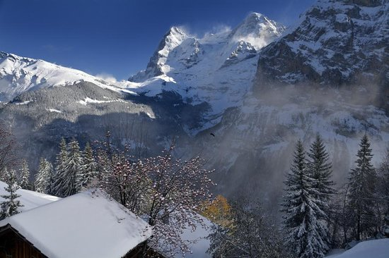 Hotel Roessli: Eiger and Monch from Murren