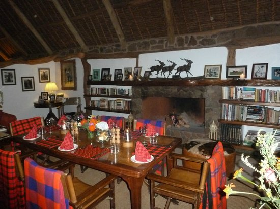 Sirikoi : Indoor dining with a cozy fireplace....