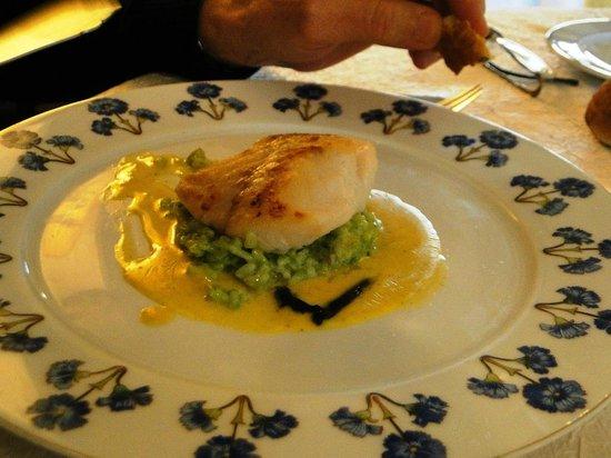 La Licorne : Dos de cabillaud risotto de poireau
