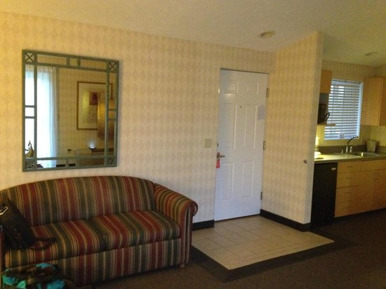 Skaneateles Suites: sofa and kitchenette