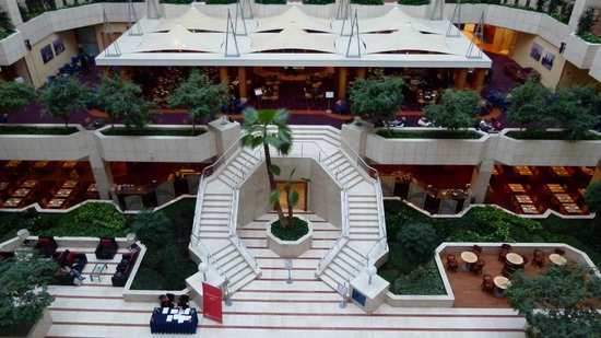 Hilton Prague: Looking down towards the lobby