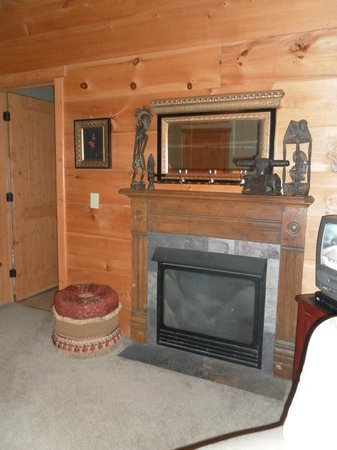 Lazy Bear Lodge : The Fireplace in the Garden View Room
