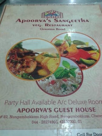 Apoorva's Sangeetha Veg : the menu