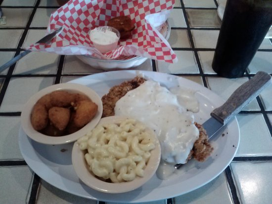 Buttermilk Cafe: Chicken fried steak with corn nuggets and mac n chz