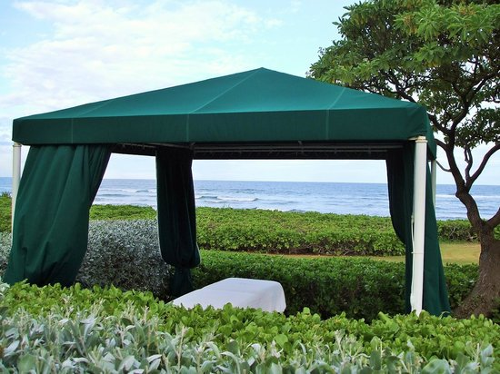 Hawaiian Rainforest Spa: NEW...Outside spa cabana with ocean view for singles and couples