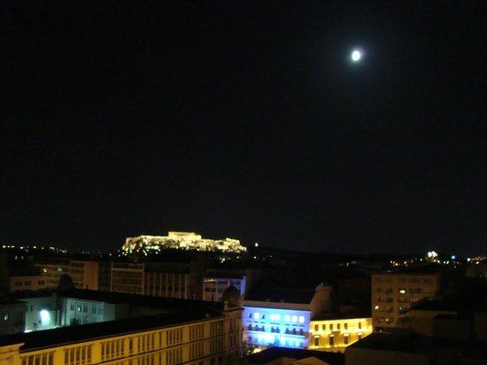 Titania Hotel: Vista para a Acrópole em noite de lua cheia