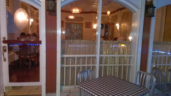 Athena Cafe & Bar: view from verandah over Bay Street to inside