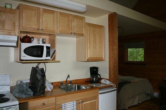 Across The Creek Cabins: kleine Küche mit allem wichtigem was man zum Kochen braucht