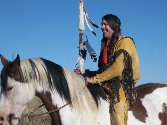 Wildcat Bluff Nature Center: Mr. Joe Ed Coffman...riding Sunflower the beautiful paint horse!