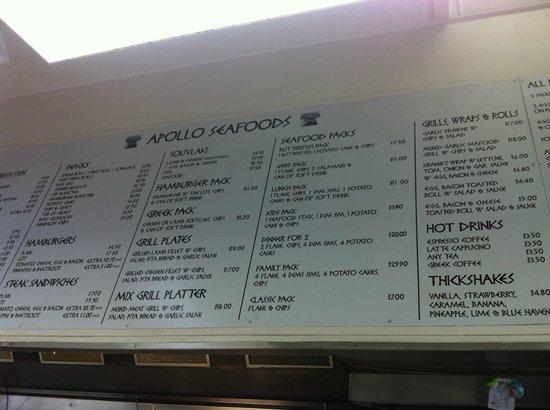 Colac, Australia: menu