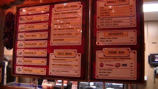 Cafe Rio : menu