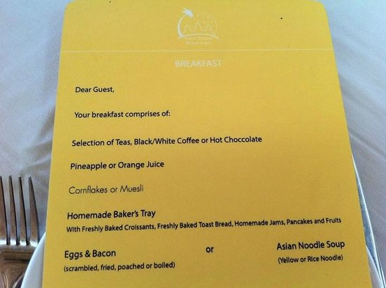 Navutu Dreams Resort & Wellness Retreat : the huge breakfast list.. and the choices given!!
