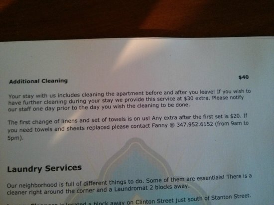 Sanctuary NYC Retreats: Cleaning costs