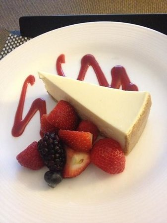 Hyatt Regency Mission Bay: beautiful presentation of the saddest cheesecake I've tasted.  The fruit was delicious! :)