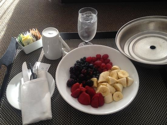 Hyatt Regency Mission Bay: Fresh fruit, ice water, sugar packets and a mug= $13 :(  The fruit was delicious!