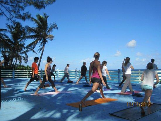 Sivananda Ashram Yoga Retreat : Doing Yoga and the beach platform