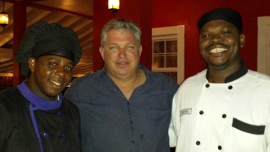 Trios Caribbean Fusion Restaurant: Chef Joel, me, Chef Antonio