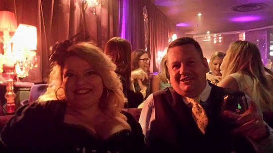 Proud Cabaret City: Me and Husband in our booth in Burlesque/20's costume