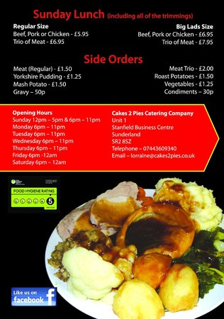 Cakes 2 Pies Catering Company: Sunday Lunch Menu