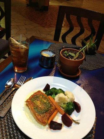 Mica: Seared Salmon entree atop parsnip puree with side of autumnal veggies