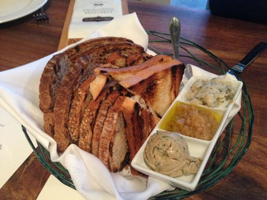 Bluebeard : Bread basket with butters/spreads - in-house bakery!