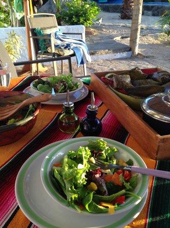 Baja Beach Oasis: Dinner on our casita porch