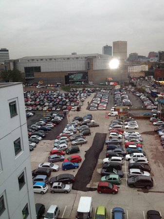 Travelodge Manchester Central Arena: view from room, arena across the car park 11/13