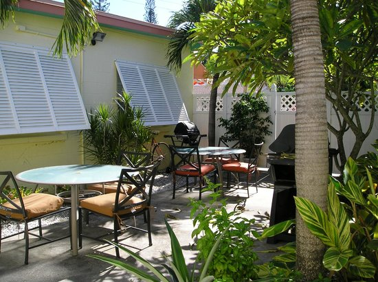 Island Paradise Cottages of Madeira Beach : Private courtyard areas with fresh herbs growing