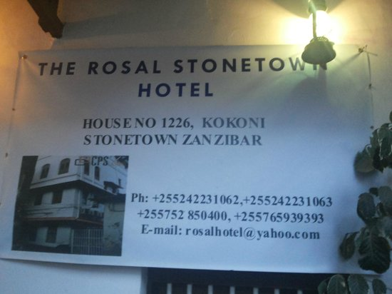 The Rosal Stone Town Hotel : The address