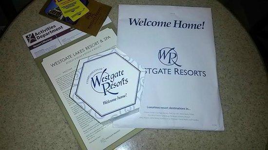 Westgate Lakes Resort & Spa: Kit boas vindas