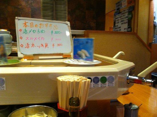 Himawari Zushi Shintoshin: particolare del rullo , i pallini colorati indicano i prezzi dei piattini