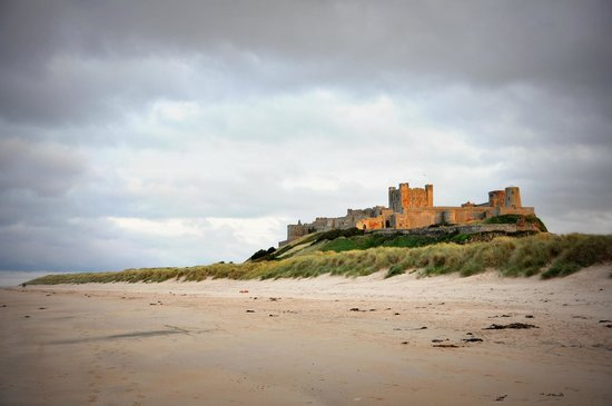 St Aiden Beach : Bamburgh Castle from the beach